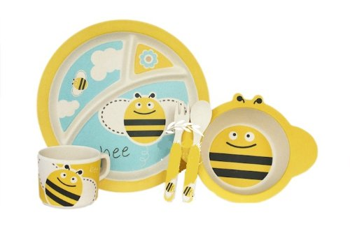 Bamboo Fiber Funny Kids Set Queen Bee Bpa Free, Non-Toxic [Free Baby Meal Organic Supplement]