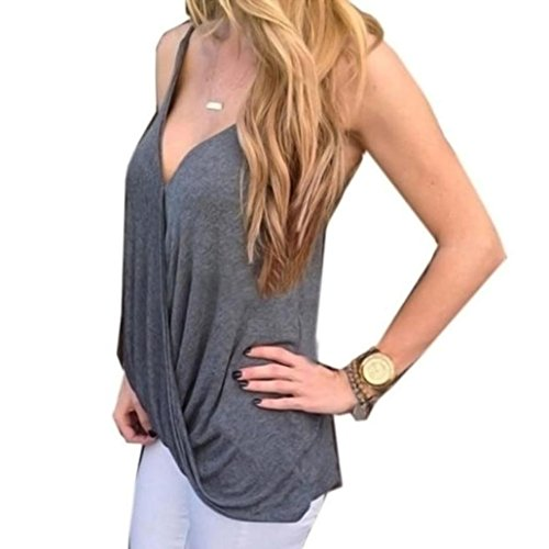 Lowpricenice Women Sexy V-neck Casual Vest Tops Sleeveless Blouse Tank Top T-Shirt (L, Gray)