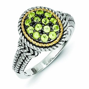 Sterling Silver with 14k Gold Peridot Ring - (Size 7)