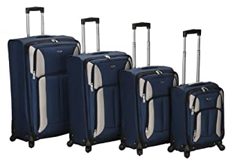 Rockland Luggage Impact Spinner 4 Piece Luggage Set, Navy, One Size
