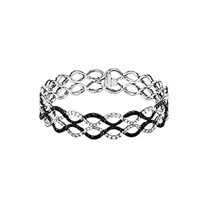 IceCarats Designer Jewelry 14K White Gold 5 9/10 Ctw Black And White Diamond Bracelet 7.00 Inch