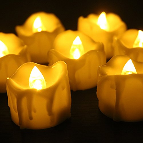 Youngerbaby 12pcs Amber Yellow Flickering Timing Flameless LED Tea Light Candles with Timer (6 Hrs on 18 Hrs Off), Wax Dripped Battery Operated Tealights for Wedding, Birthday, Home Party (Battery Votive Candles Timer compare prices)