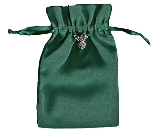 "Tarot Rune Gift Bag with Angel Charm, Forest Green Satin 5"" X 8"""