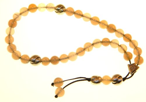 A2-0389 - Prayer Beads Worry Beads Traditional 33 X 8mm Beautiful Grey Agate Gemstone Bead Set