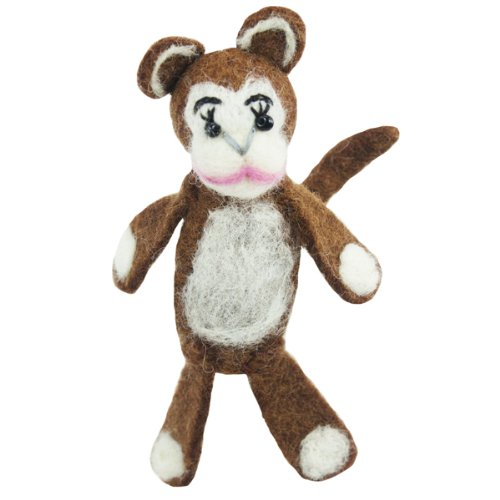 Fair Trade Finger Puppet Monkey Christmas Tree Ornament Dzi Wild Woolie - 1