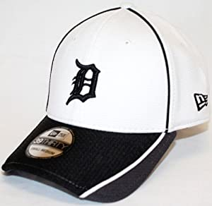 Detroit Tigers New Era MLB 39THIRTY Pipe Slide Fitted Hat - White Gray by New Era