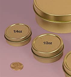 MagnaKoys 1/4oz & 1/2oz Empty Gold Slide Top Round Tin Containers for Lip Balm, Crafts, Cosmetic, Candles, Pocket size (20, 1/4oz Tins)