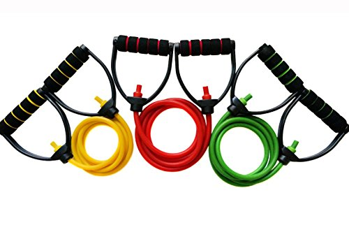 ProGrade Resistance Bands - Gym Quality. #1 Rated Band by Amazon Customers! ADJUSTABLE, Premium Comfort D-Handle, Anti-Snap. (Complete Set (All 3 colors))