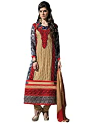 Suchi Fashion Beige Heavy Embroidery Semi Stitched Straight Fit Suit