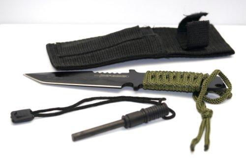 Mstechcorp Black Full Tang Tanto Survivor Hunting Knife w/ Fire Starter Sealed In Mstechcorp Packaging