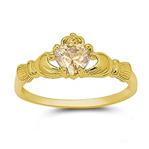 9mm 2ctw 18k-gold Plated .925 Sterling Silver November Champagne Citrine Brown Citrine Irish Royal Heart Claddagh Ring 4-10