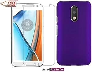 Unistuff™ Motorola Moto G Plus, 4th Gen/ Moto G 4th Gen/Moto G4/ Moto G4 Plus [COMBO OFFER] Diamond Glitter Screen Guard and Matte Finish Hard Case Back Cover Accessory Combo (Purple)