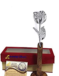Lavanaya Silver.in Silver Plated Natural Rose 6 inch Flower With velvet Box & wooden stand