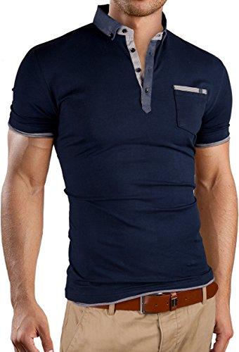 Grin&Bear Slim Fit Chambray Shirt Collar Shirt, Short Sleeve, Navy, S, Gb124