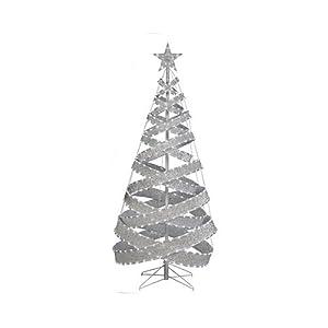 Neo+Neon+International Neo Neon International XMDR3DTREE0046245VW LED Christmas Tree, Metal Ribbon With White Tape Light, 6-Ft.