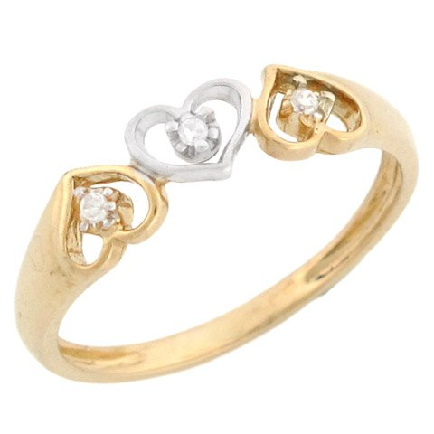 14ct Two Colour Yellow And White Gold Three Hearts Diamond Promise Ring
