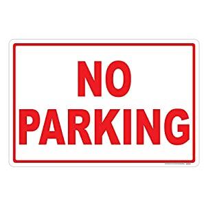 No Parking Sign (Red-Horizontal), Includes Holes, 3M Sheeting, Highest Gauge Aluminum, Laminated, UV Protected, Made in USA, Safety, Parking
