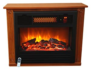 Lifesmart 1000 Square Foot Infrared Quartz Fireplace Heater Dark Walnut finish
