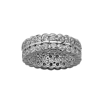 Ladies Sterling Silver Clear Cubic Zirconia 5 mm Wide Luxury Eternity wedding Band Ring