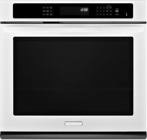 """Kitchenaid Kebs109Bwh 30"""" Single Wall Oven With 5.0 Cu. Ft. Capacity, True Convection, 3 Oven Racks, Evenheat Technology, Hidden Element, Self-Cleaning And Glass-Touch Display"""