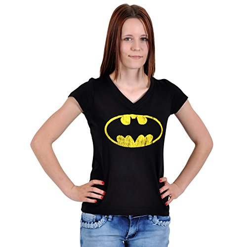 Batman - T shirt Distressed Shield Girlie - Girocollo per ragazza con logo - Nera - M