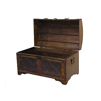 Nostalgic Medium Wood Storage Trunk Wooden Treasure Chest