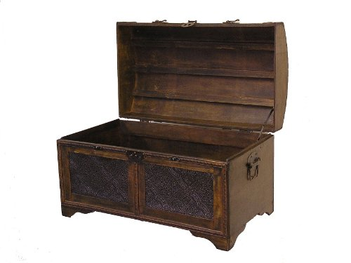 Nostalgic Medium Wood Storage Trunk Wooden Treasure Chest 2