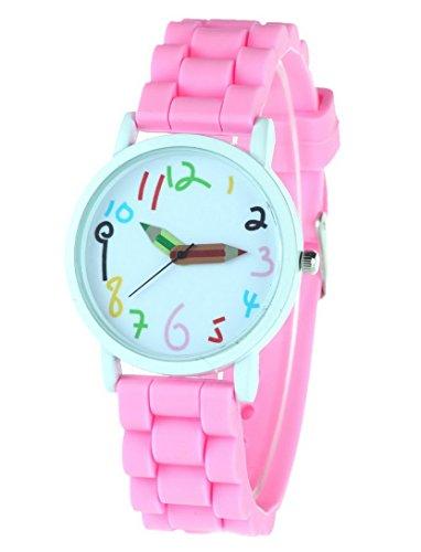 FEOYA - Reloj de Pulsera Cuarzo Analígico Colorido para Niños y Estudiantes Correa de Silicona Watch Reloj Infantil - Rosa