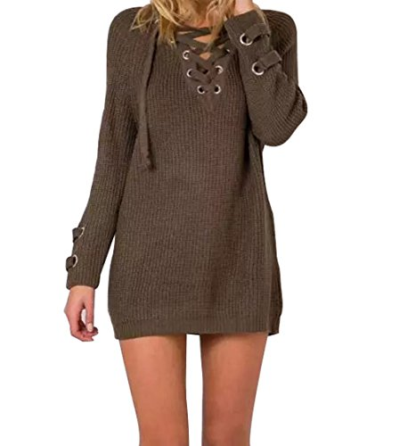 Cyber Monday YFFaye Women's Long Sleeve Lace up Knit Pullover Sweater Dress (Huge Heavy Ti compare prices)