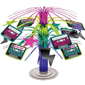 Totally 80s Cassette Cascade Centrepiece - 80s Cassette Fountain Centrepiece  One or more of these fountainous decorations on each table would look fantastic at any 80s party.