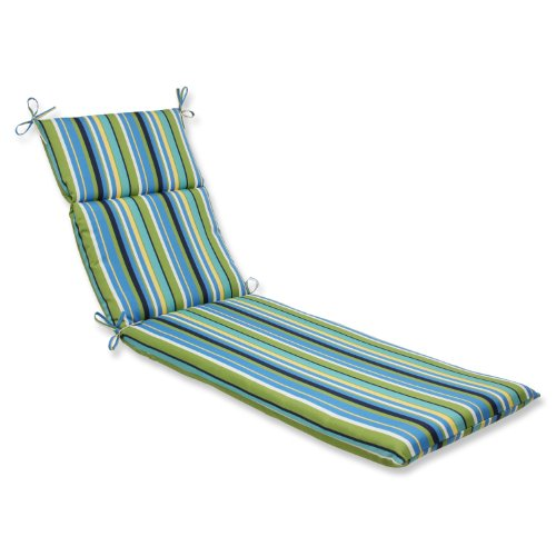 Pillow Perfect Outdoor Topanga Stripe Lagoon Chaise Lounge Cushion (Lounge Chair Cushions Outdoor compare prices)