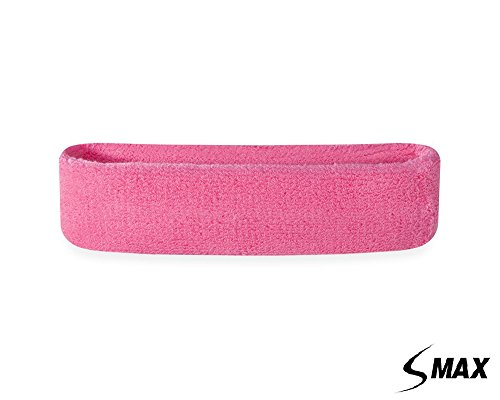 SMax Sportline Hauptband, Frottee-Stirnband, Fitness-Workout-Yoga-Übung & Fitness rosa