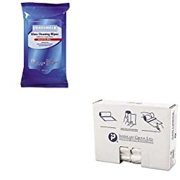 KITBWK341WIBSS303710N - Value Kit - Boardwalk Glass Wipes (BWK341W) and IBS S303710N High Density Commercial Coreless Roll Can Liners, Natural (IBSS303710N)
