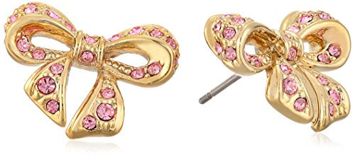 """Ted Baker """"Pave Crystal"""" Pepe Gold Tone And Pink Bow Stud Earrings"""
