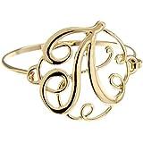 Goldtone Initial Bangle Bracelet -- Many Letters