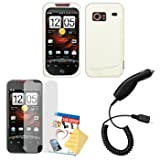 White Silicone Case / Skin / Cover, LCD Screen Guard / Protector & Car Charger for HTC Droid Incredible ADR6300 ~ Cbus Wireless