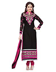 Surat Tex Black Color Party Wear Embroidered Chanderi Un-Stitched Dress Material-H970DL77