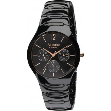 Accurist Gents Multi Dial Black Ceramic Case and Bracelet Watch MB990B