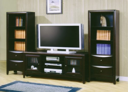 Inland Empire Furniture Midori Cappuccino Solid Wood Flat Panel TV Stand with Media Towers