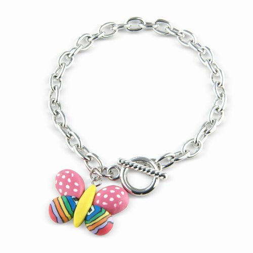 Childrens Cute Pink Heart Bracelet with Coloured Plastic beads on a stretch Bracelet with gift bag