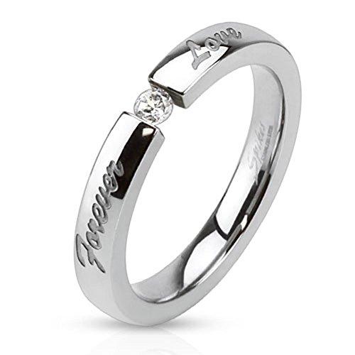 Paula & Fritz anello in acciaio inox argento 3 mm di larghezza con Forever Love diamanti e zirconi anello Taglie disponibili 47 (15) - 61 (195), Acciaio inossidabile, 10, colore: Argento, cod. R-M3099_60