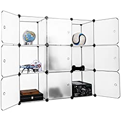 LANGRIA 9-Cube DIY Modular Shelving Storage Organizing Closet with Translucent Doors and Cube Design for Clothes, Shoes, Toys and Books (White)