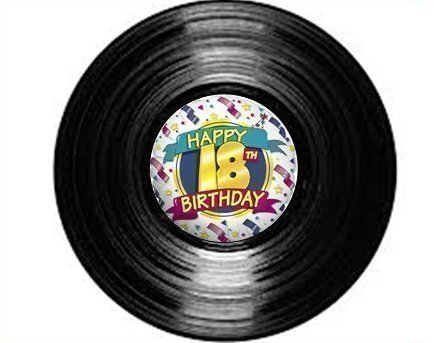 vinyl-record-inspired-18th-birthday-18-yellow-standups-12-edible-standup-premium-wafer-cake-toppers