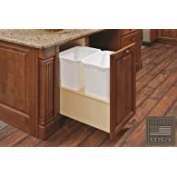 Century Components CASBM14PF Kitchen Pull Out Waste Bin Container - 35 Qt White Double - Baltic Birch - Soft Close Bottom Mount, 14-7/8