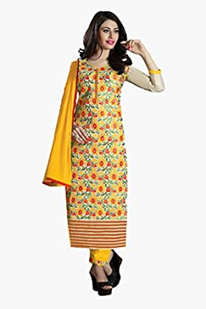 Ishin Chanderi Cotton Yellow&Red Dress Material available at Amazon for Rs.4099