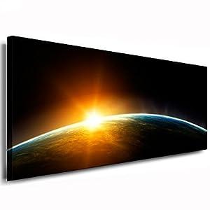 fotoleinwand24 - Fotografía de amanecer en el espacio exterior sobre lienzo (120x50x2cm) de fotoleinwand24