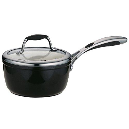 Tramontina 80110/024Ds Gourmet Ceramica 01 Deluxe Covered Sauce Pan, 1.5-Quart, Metallic Black