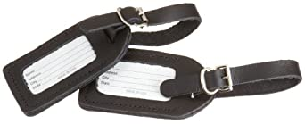 Lewis N. Clark 2-Pack Leather Luggage Tag, Black, One Size