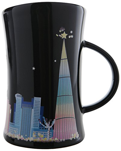 Cocera Formosa Treasure SHU-SWA038 Color Changing Porcelain Cup with Decal of New Taipei City Night Scene, Glossy Black
