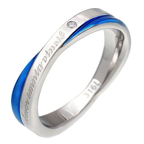 ステンレスリング 指輪 メンズ レディース クロス sr0143 【ブルー 15号】
